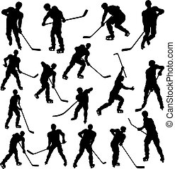 Hockey Player Silhouettes - A set of detailed silhouette...