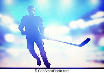 Hockey player skating on ice in arena night lights - Hockey...