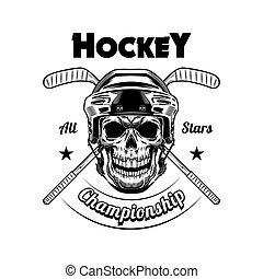 Hockey player skull vector illustration