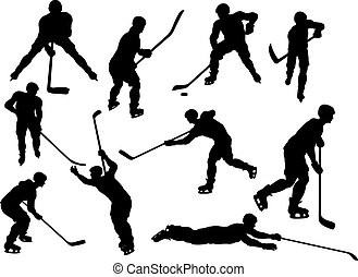 Hockey Player Sports Silhouettes - A set of detailed...