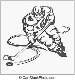 Hockey player - vector illustration. Isolated in white.