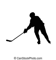 Hockey player vector silhouette, ice hockey winter sport