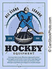 Hockey player with stick and puck retro poster