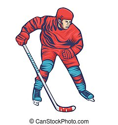 Hockey player with stick isolated on a white background. Vector graphics.