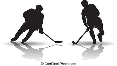 Hockey players silouettes - Vector of Ice Hockey and Field...