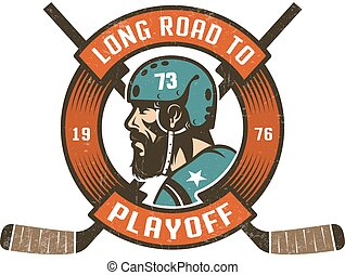 Hockey playoff logo with bearded player's head in retro helmet