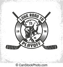 Hockey playoff retro emblem with bearded player