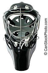 hockey, portero, casco