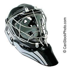hockey, portero, casco