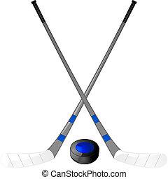 Hockey puck and sticks