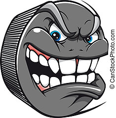 Hockey puck - Angry hockey puck mascot in cartoon style