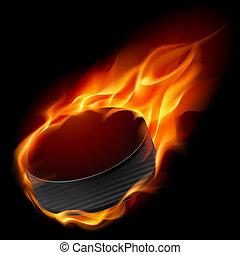 hockey puck, burning