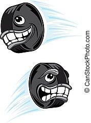 Hockey puck cartoon characters mascot design