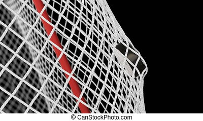 Hockey Puck Flying into Gates Grid in Slow Motion on Black...