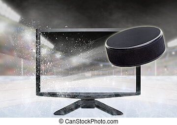 Hockey Puck Flying Out of TV Screen in Stadium
