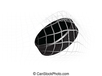 Hockey Puck - Goal - a hockey puck in the net. Vector...