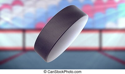 """Hockey Puck in motion. Matte channel included."""