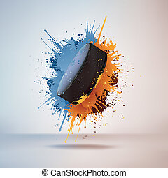 Hockey Puck in Paint on Vignette Background. Vector.