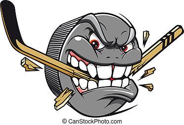 Hockey puck mascot - Sport mascot - hockey puck bites and...
