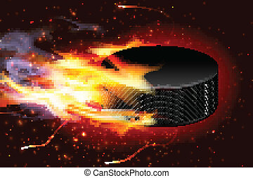 Hockey Puck On Fire - Detailed illustration of a hockey puck...