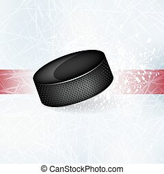 Hockey puck on the ice.