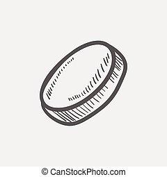 Hockey puck sketch icon