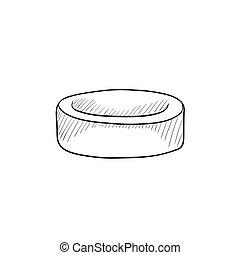 Hockey puck sketch icon.