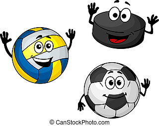 Hockey puck, volleyball and soccer balls in cartoon style...