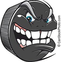 Hockey puck with an evil toothy grin - Cartoon vector hockey...
