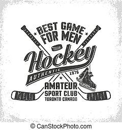 Hockey retro emblem for team or sport club