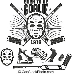 Hockey retro emblem with vintage goalkeeper's mask and sticks