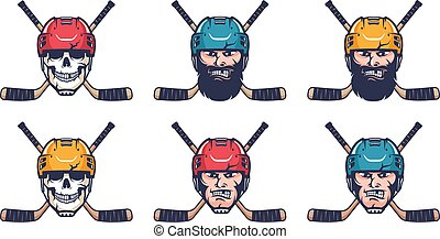 Hockey retro logo. Hockey player head in helmet