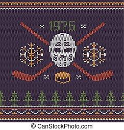 Hockey retro logo knitted