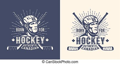 Hockey retro vintage logo with player head and crossed sticks