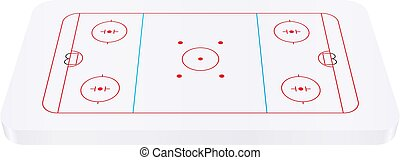 Hockey rink on a white background. Vector illustration.