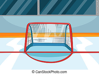 Hockey Rink. Vector Cartoon Background. EPS 10.