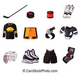 hockey, sæt, ikon, vektor, is