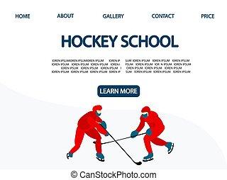 Hockey school. Landing Page. Men play hockey. Winter sport .Vector illustration..