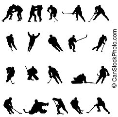 hockey silhouettes collection - many hockey player...