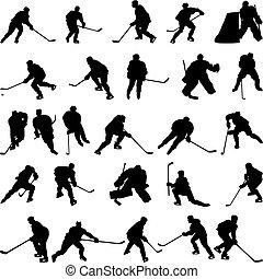 hockey, siluetas, conjunto