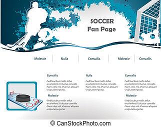 hockey, sitio web, diseño, plantilla
