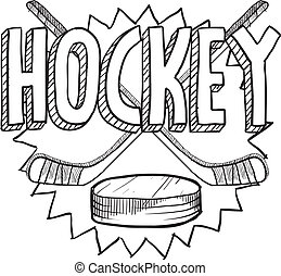 Hockey sketch - Doodle style hockey illustration in vector...