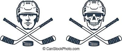 Hockey skull logo with crossed sticks