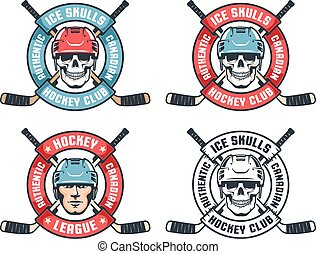 Hockey skull retro emblem with crossed sticks and round ribbon