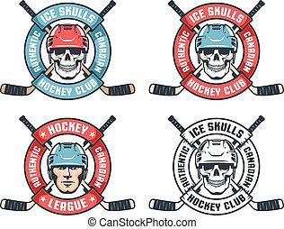 Hockey skull retro emblem with crossed sticks and round ...