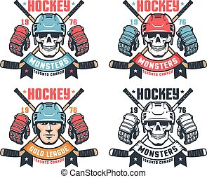 Hockey skull vintage logo with crossed sticks and ribbon