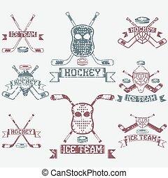 hockey sport club grunge vintage labels set