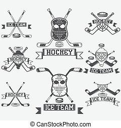 hockey sport club vintage labels set