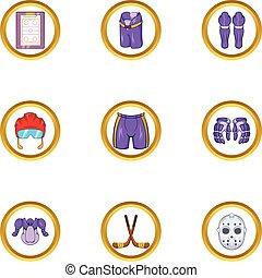 Hockey sport icon set, cartoon style