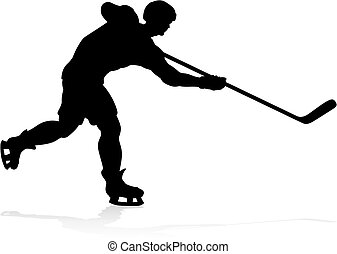 Hockey Sports Player Silhouettes - A detailed silhouette...